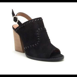 NIB Qupid Stacked Heel Buckle Booties in Black